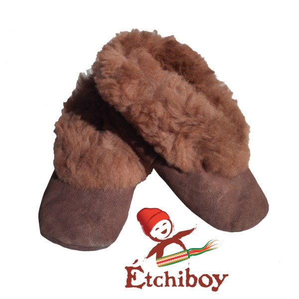 Brown Trim Kids Slippers Pantoufles Bordure Brune Pour Enfants 1