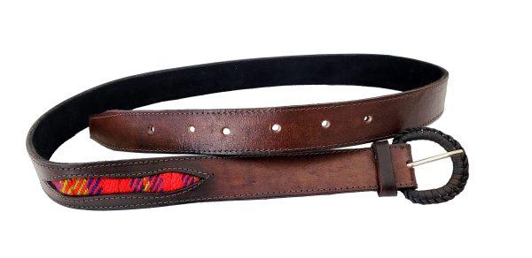 Leather Belt with Sash Inserts Ceinture de Cuir avec la Ceinture Fléchée Incrustrée 5