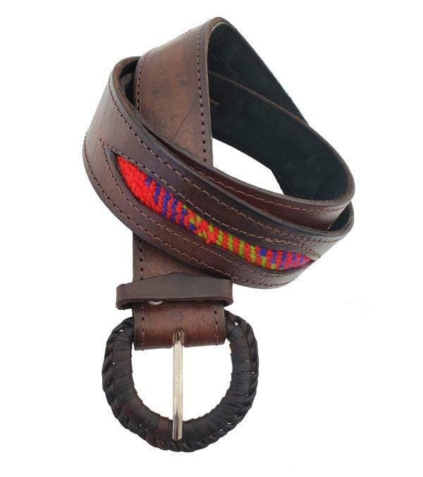 Leather Belt with Sash Inserts Ceinture de Cuir avec la Ceinture Fléchée Incrustrée 8