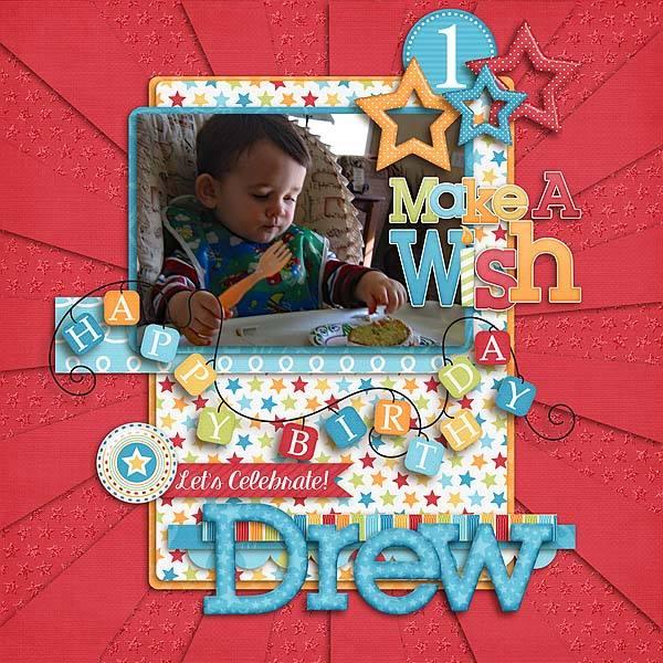 GingerScraps Kits Birthday Wishes Boy Digital Scrapbooking Kit