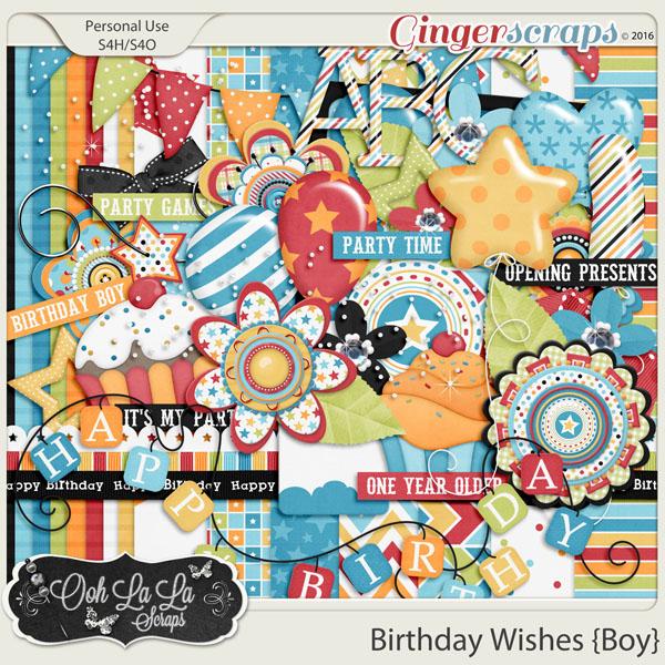 GingerScraps Kits Mini Birthday Wishes Boy Add On Mini Digital Scrapbooking Kit