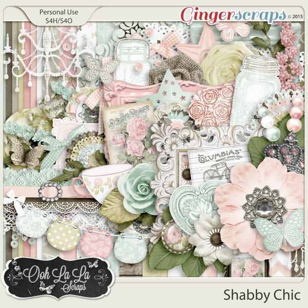 GingerScraps Kits Shabby Chic Digital Scrapbook Kit