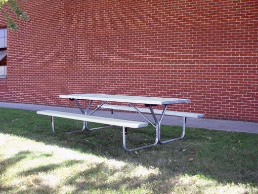 Metal Picnic Table - 8 foot with aluminum seating