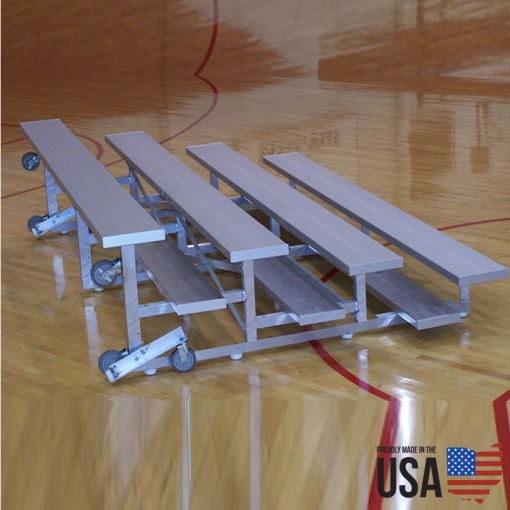 SportLite Tip & Roll Low Rise Aluminum Bleachers - 4 Rows, 15 ft