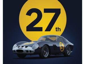 Ferrari 250 GTO - Dark Blue - Goodwood TT - 1962 - Limited Poster image 1 on GreatBritishMotorShows.com