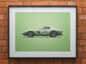 Ferrari 250 GTO - Green - 24h Le Mans - 1962 - Colors of Speed Poster image 2 on GreatBritishMotorShows.com