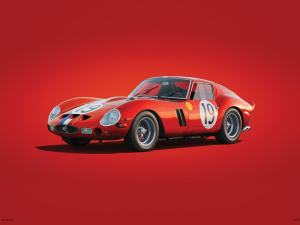 Ferrari 250 GTO - Red - 24h Le Mans - 1962 - Colors of Speed Poster image 1 on GreatBritishMotorShows.com