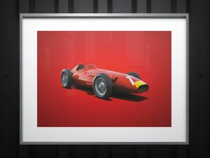 Maserati 250F - Juan Manuel Fangio - 1957 - Colors of Speed Poster image 2 on GreatBritishMotorShows.com