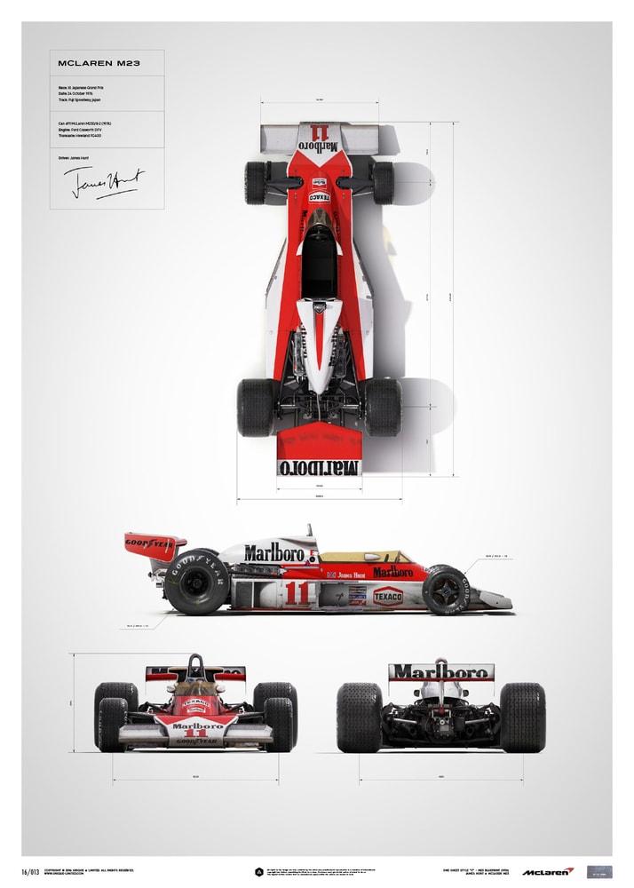 McLaren M23 - James Hunt - Blueprint - Japanese GP - 1976 - Limited Poster image 1 on GreatBritishMotorShows.com