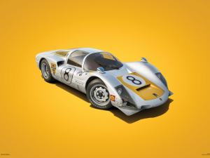 Porsche 906 - White - Japanese GP - 1967 - Colors of Speed Poster image 1 on GreatBritishMotorShows.com