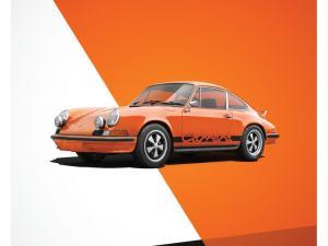 Porsche 911 RS - Orange - Limited Poster image 1 on GreatBritishMotorShows.com