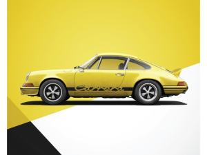 Porsche 911 RS - Yellow - Limited Poster image 1 on GreatBritishMotorShows.com