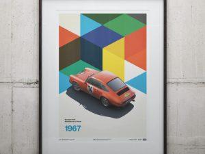 Porsche 911R - Red - Marathon de la Route - 1967 - Limited Poster image 2 on GreatBritishMotorShows.com