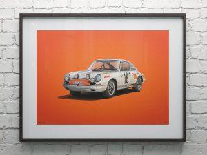 Porsche 911R - White - Tour de France - 1969 - Colors of Speed Poster image 2 on GreatBritishMotorShows.com