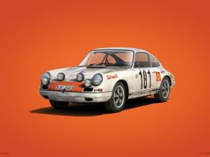 Porsche 911R - White - Tour de France - 1969 - Colors of Speed Poster image 1 on GreatBritishMotorShows.com