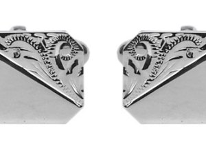 925 Sterling Silver Rectangle Cufflinks with Engraved Corner Design