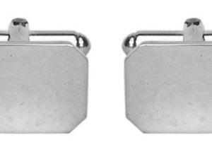 Cut Corner Plain Rectangular Hallmarked Sterling Silver Cufflinks