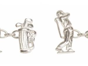 Golfer Cut Out Sterling Silver Cufflinks