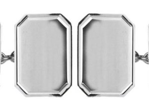 Lined Edge Rectangle Cut Corner Sterling Silver Cufflinks