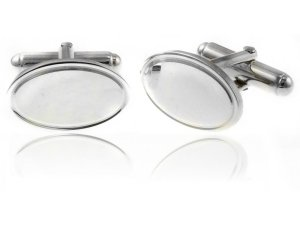 Oval with Lined Edge 925 Sterling Silver Cufflinks