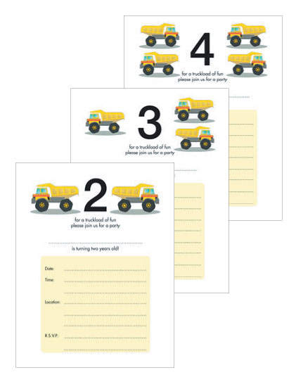 Kid's Birthday Party Invitations - Toy Trucks