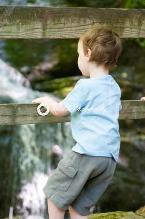 Boy looking at Crabtree Falls along the Blue Ridge Parkway near Asheville North Carolina - Kelleher Photography Store