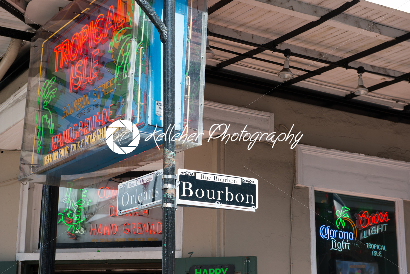 NEW ORLEANS, LA – APRIL 13: Bourbon and Orleans Street sign in the French Quarter of New Orleans, Louisiana on April 13, 2014 - Kelleher Photography Store