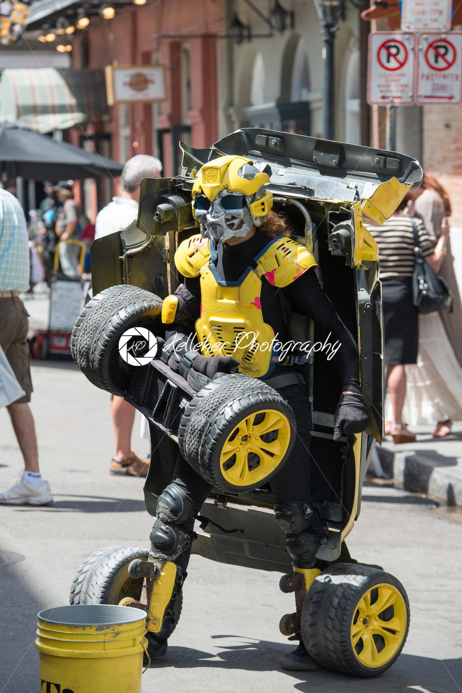NEW ORLEANS, LA – APRIL 13: Street performer in New Orleans, man transforms between car and robot on April 13, 2014 - Kelleher Photography Store