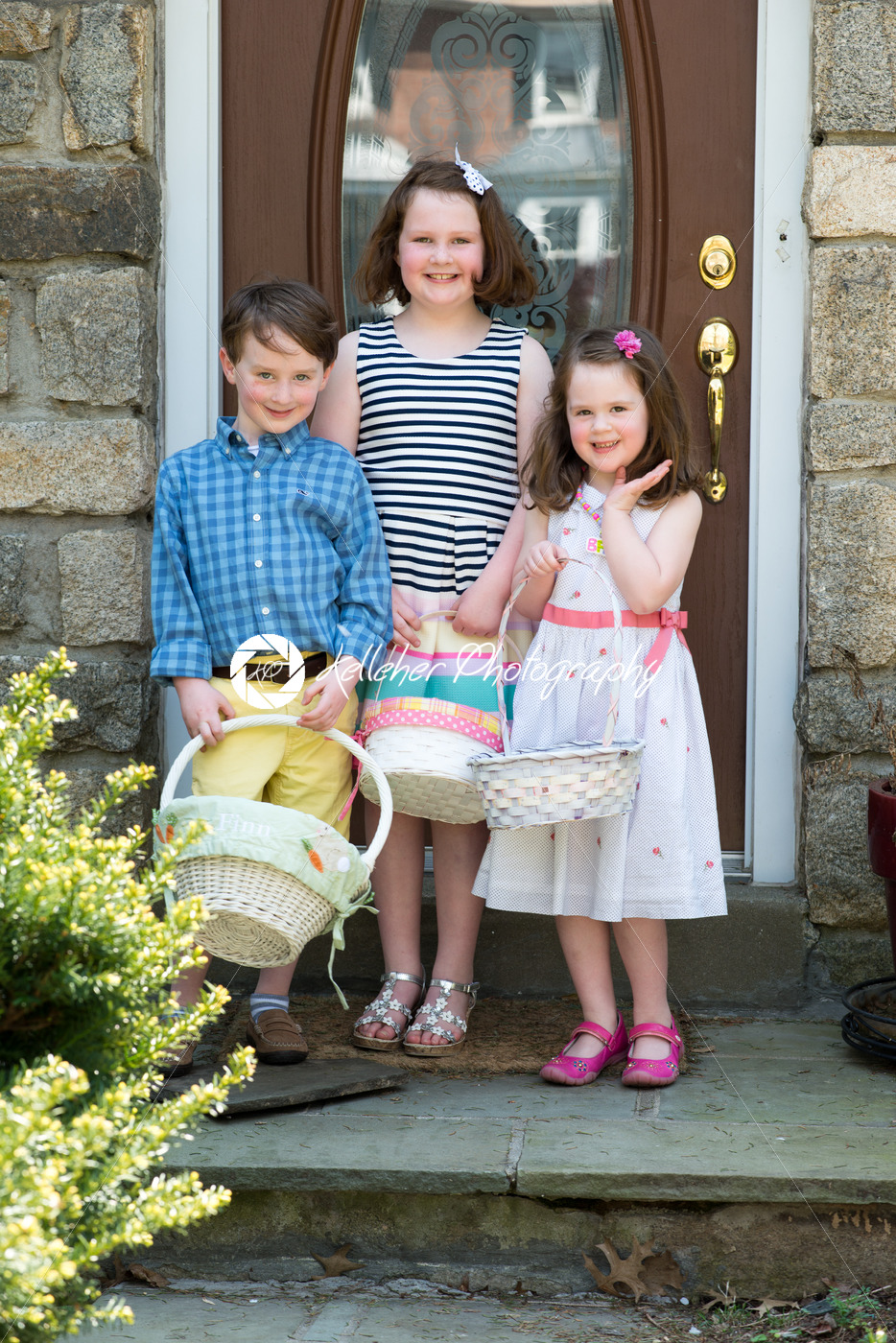 Young Siblings Outside Dressed Up for Easter holding Baskets - Kelleher Photography Store