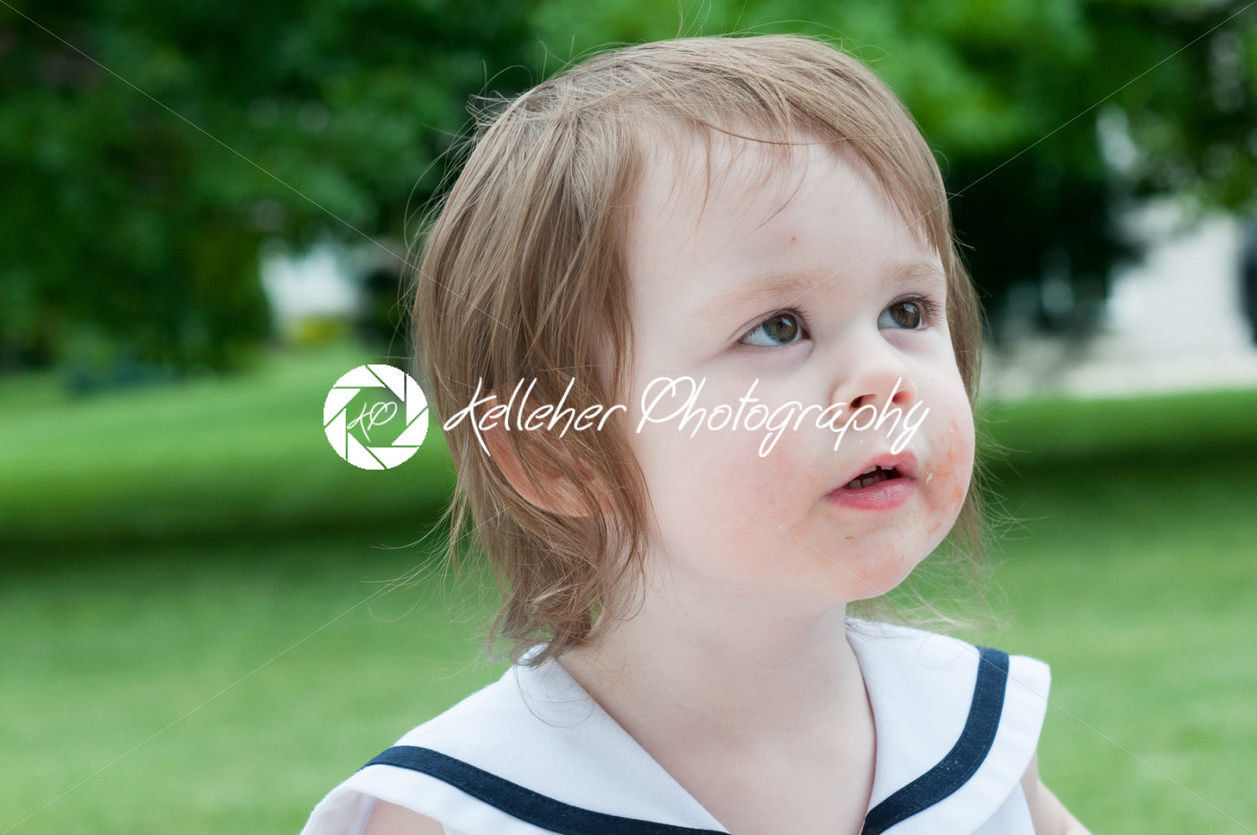 Portrait of a cute adorable little girl child in dress outside - Kelleher Photography Store