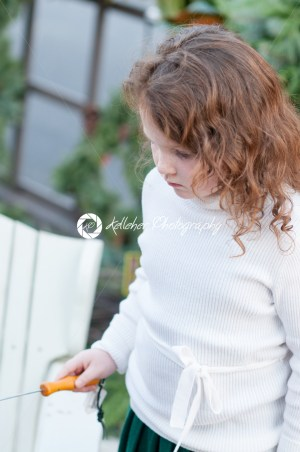 Young little girl is making a s'more made from graham crackers, roasted marshmallows and chocolate. - Kelleher Photography Store