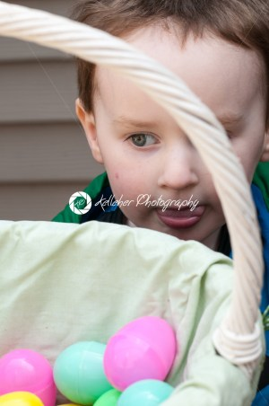 Young little toddler boy with basket of easter eggs - Kelleher Photography Store