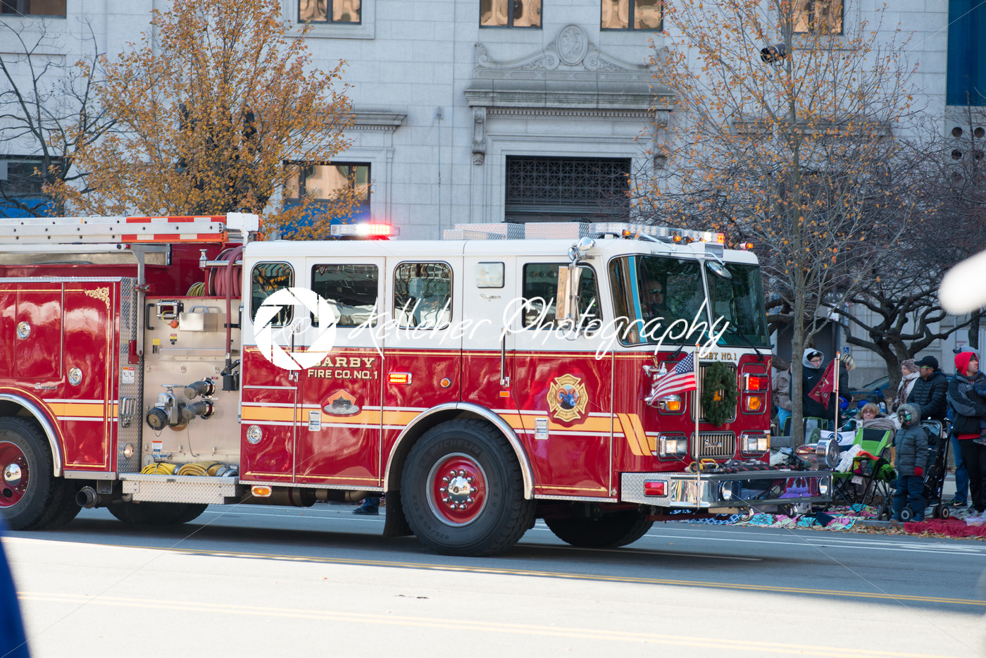 Philadelphia, PA – November 23, 2017: Fire Engine at Annual Thanksgiving Day Parade in Center City Philadelphia, PA - Kelleher Photography Store