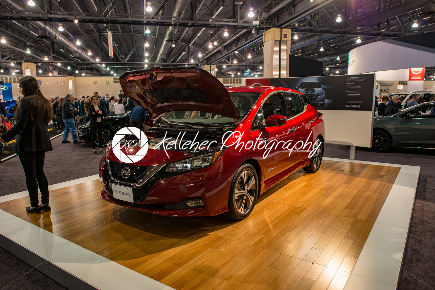 PHILADELPHIA, PA – Feb 3: Nissan Leaf EV electric vehicle at the 2018 Philadelphia Auto Show - Kelleher Photography Store