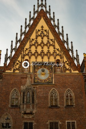 Wroclaw, Poland – March 4, 2018: Wroclaw Town Hall details in evening in historic capital of Silesia, Poland, Europe. - Kelleher Photography Store