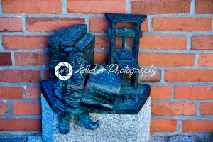 Wroclaw, Poland – March 9, 2018: Wroclaw, a miniature statue of a gnome on the main square of the city. - Kelleher Photography Store