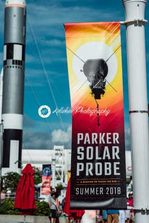 Cape Canaveral, Florida – August 13, 2018: Banner for Parker Solar Probe with rocket in background at NASA Kennedy Space Center - Kelleher Photography Store