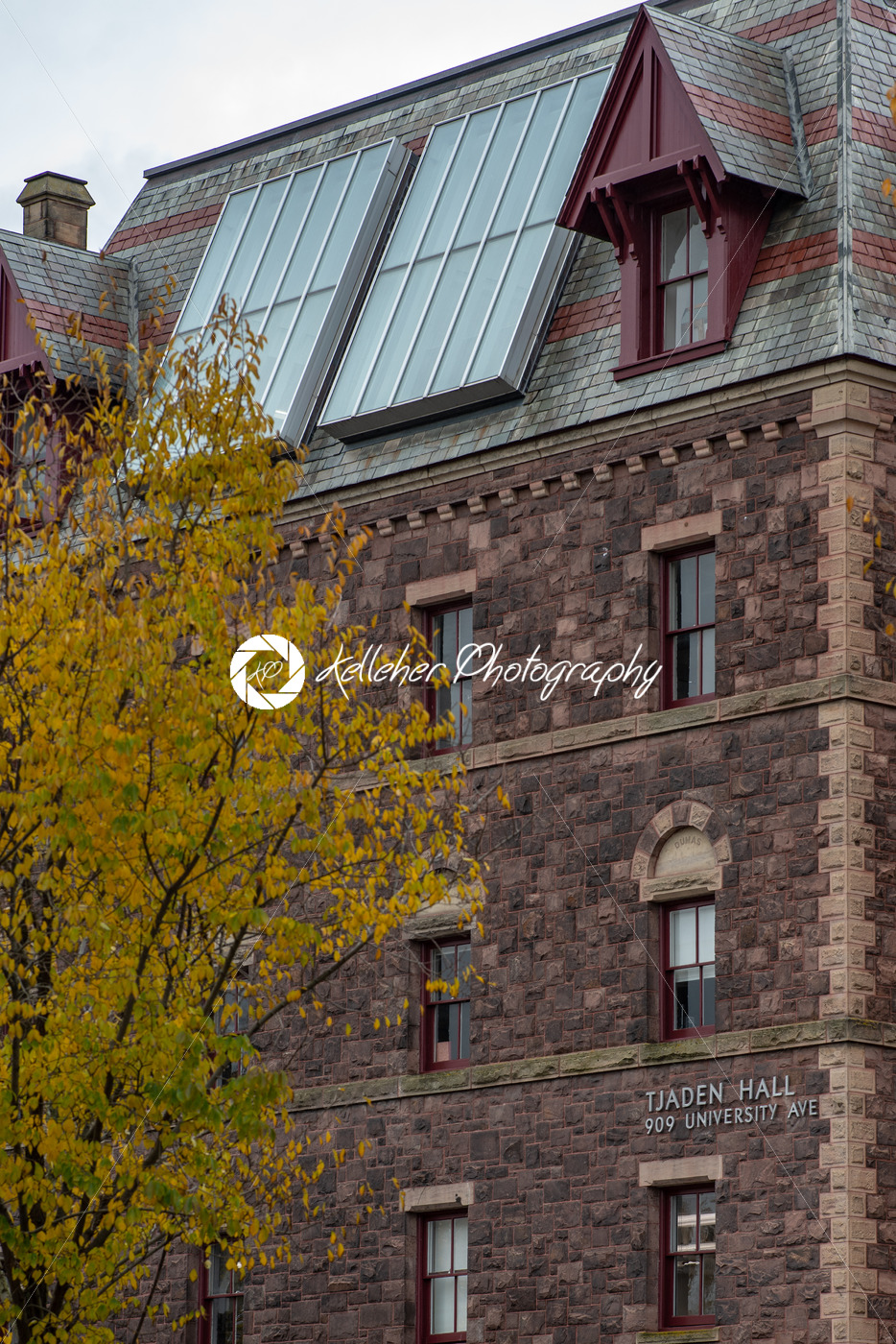 Buildings at Cornell University during peak fall time with autumn colors in Ithaca, New York - Kelleher Photography Store