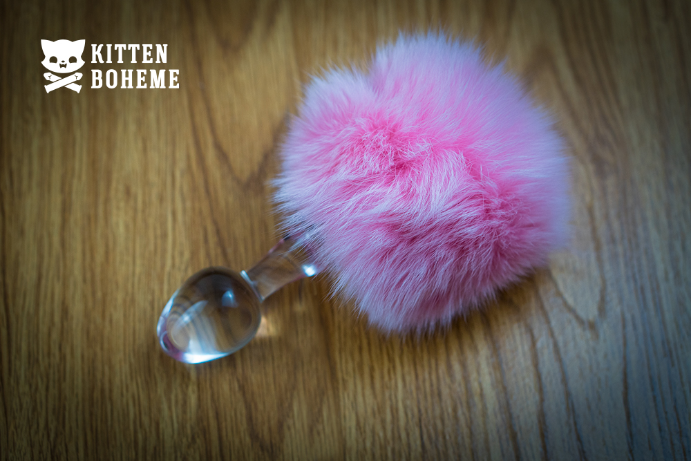 Crystal Delights Magnetic Bunny Tail Glass Butt Plug Sex Toy Review by KittenBoheme.com