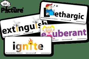 4 example cards from Get the Picture Antonym vocabulary cards: Lethargic, Exuberant, Extinguish, Ignite