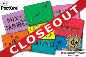 Closeout banner for Get the Picture Math Target Vocabulary cards. includes 2012 TCA