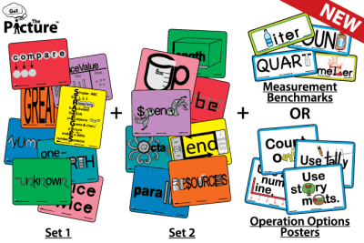 Bundle contents of the Get the Picture Math Vocabulary Pictures cards. Depicts card Set 1, Set 2, and either Get the Picture Measurement Benchmarks cards or the Operation Options posters set