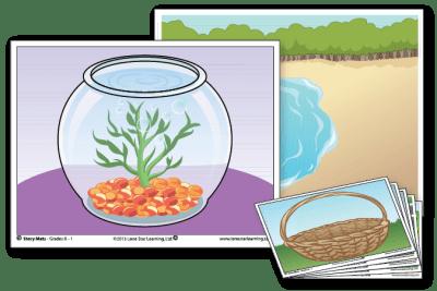 3 example Story Mats: Fish Bowl, Lake Shore, and Easter Basket