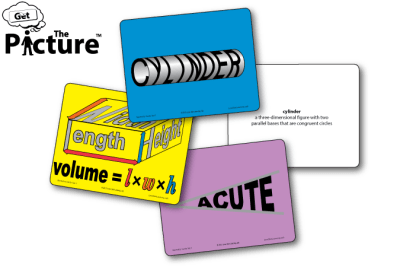 4 examples of Get the Picture Geometry vocabulary cards: Volume, Acute, Cylinder, and the reverse side of Cylinder