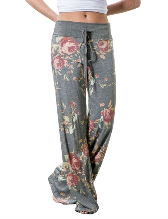 89ff385499aa8 Assivia Women s Casual Pajama Pants Floral Drawstring Wide Leg High Waist  Palazzo Lounge Pants