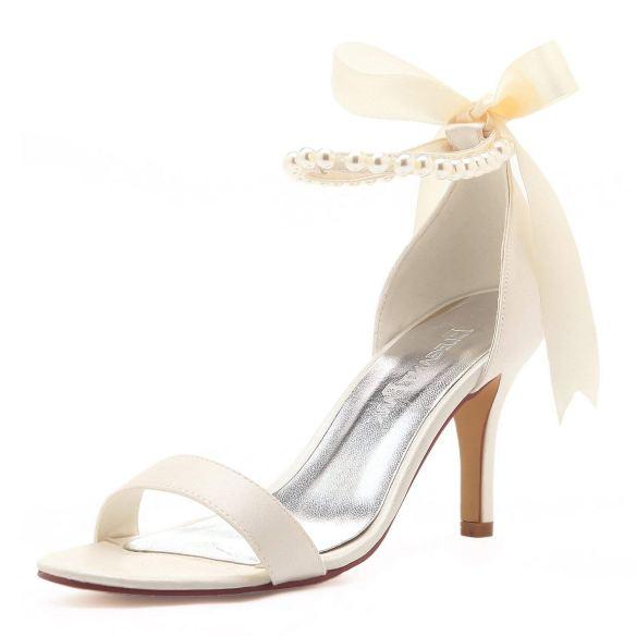 8b26619829e5 ElegantPark Women Ankle Strap Shoes Open Toe Pearls Satin Bridal Wedding  Sandals