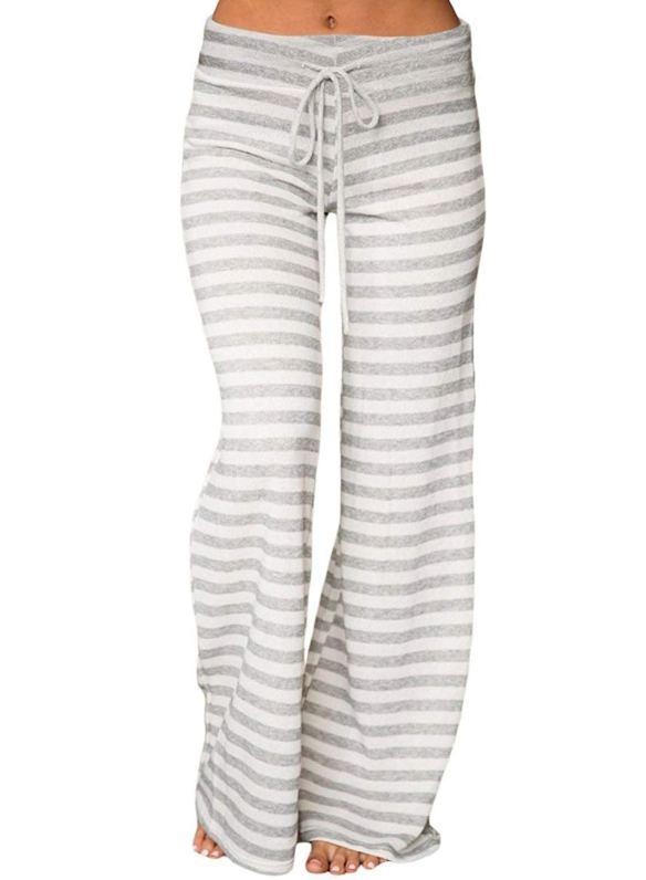 964ef8c952360 LOSRLY Women Plus Size Striped Wide Leg Drawstring High Waist Palazzo Yoga  Pants
