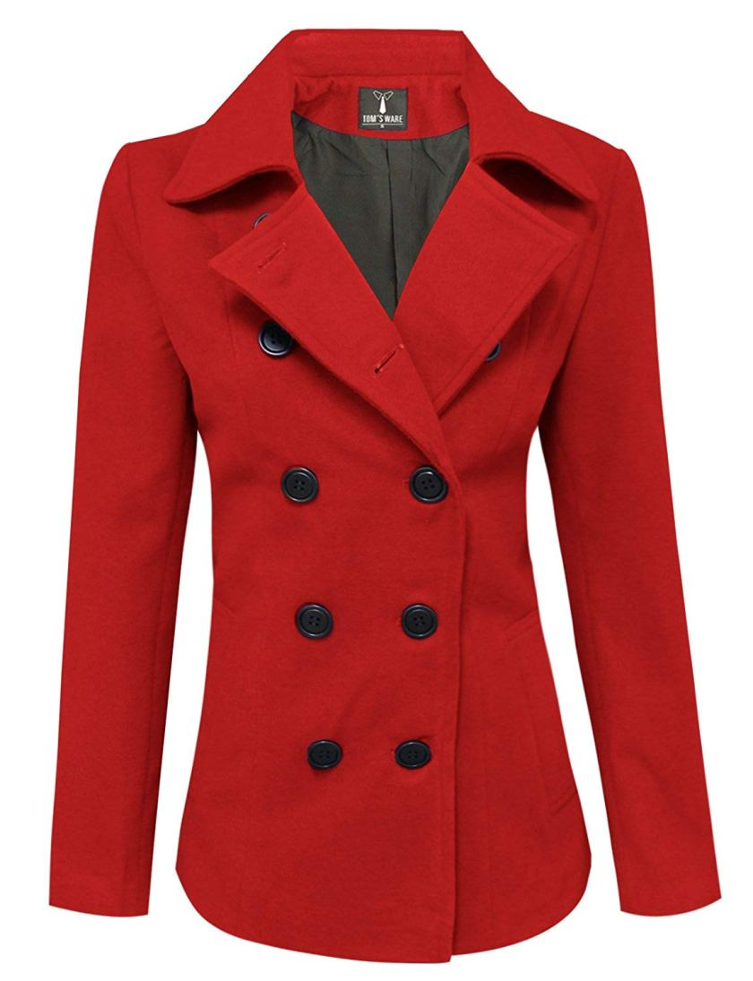 tutu.vivi Double Breasted Blended Classic Pea Coat Jacket Hooded Coat Thermal Outwear Plus Size