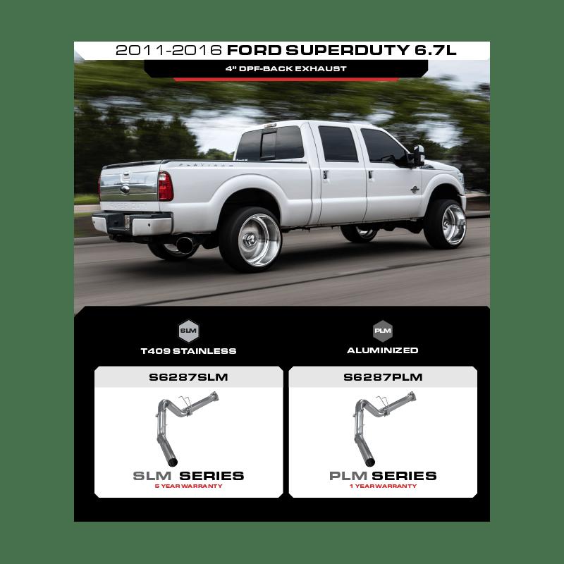 ford super duty 6 7l 4 dpf back exhaust plm series mbrp ltd
