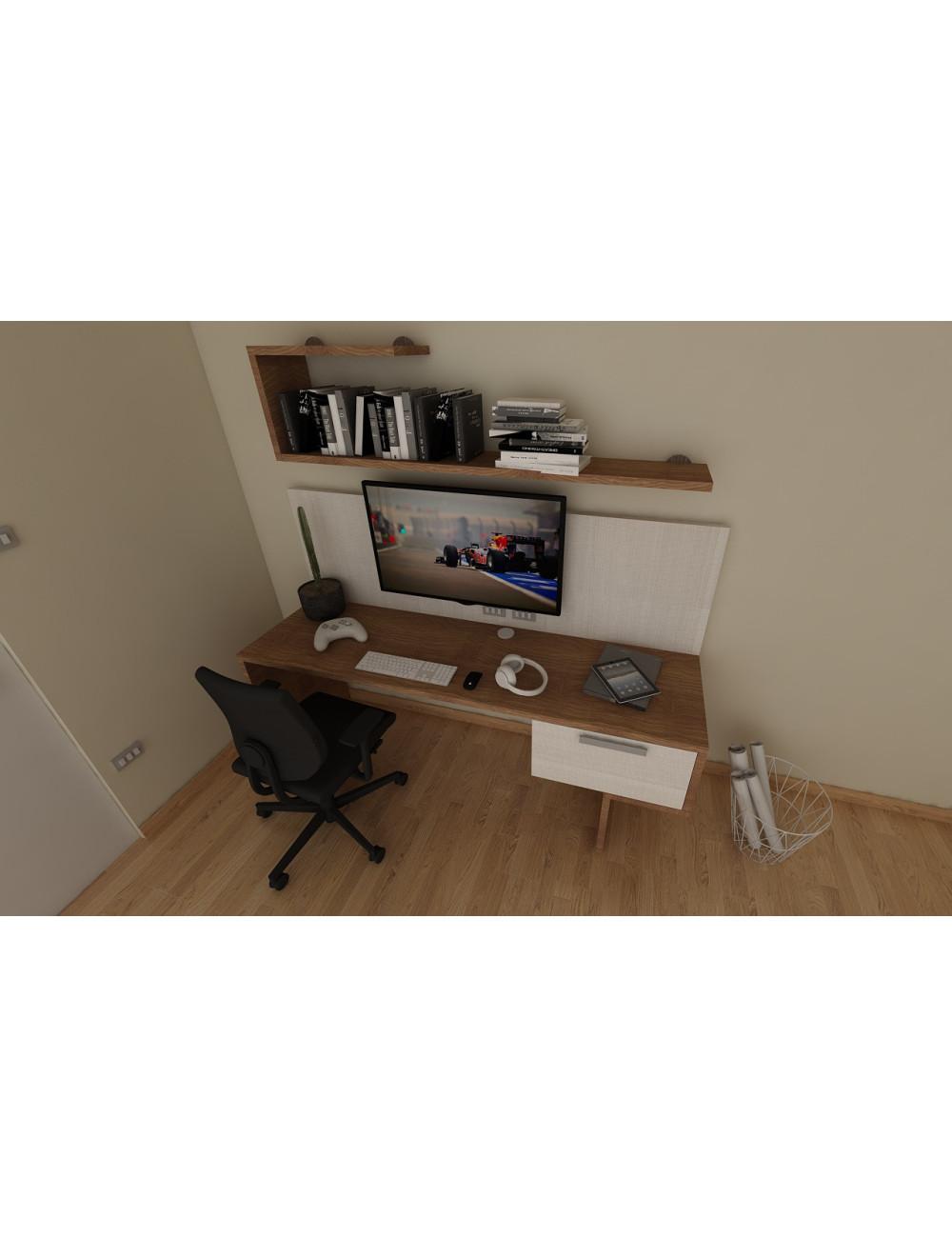 console de jeu design bureau d angle d etude avec 2 tiroirs habillage meuble tv et etageres l 205 p 60